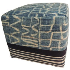 CLOSE OUT SALE: African Blue and Natural Vintage Ndop Textile Ottoman