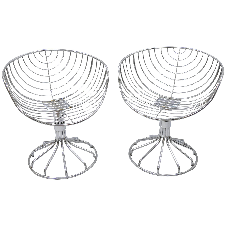 Pair of Italian Mid Century Modern Rima Gastone Rinaldi Chrome Swivel Chairs