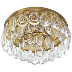 1 of 2 Stunning Flush Mount, Brass and Crystal Glass by Palwa, Germany, 1970