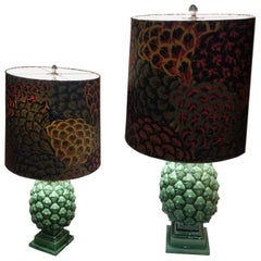 Pair of Two Green Ceramic Pineapple Table Lamps, circa 1970, 20th Century