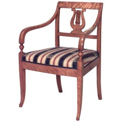 Swedish Biedermeier Style Lyre Carved Back Armchair