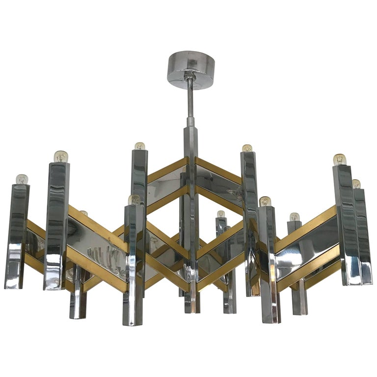 Chandelier Brass and Chrome by Sciolari, Italy, 1970s