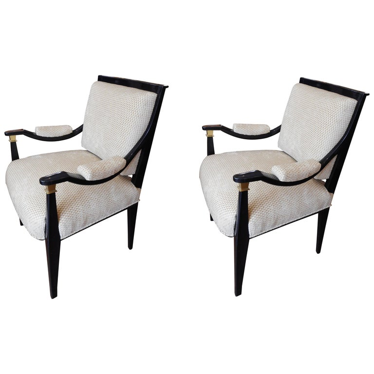 Pair of Rare Midcentury Italian Custom Chairs For Sale