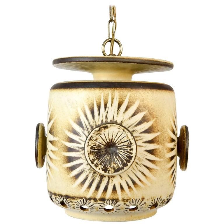 Danish Midcentury Ceramic Pendant Lamp