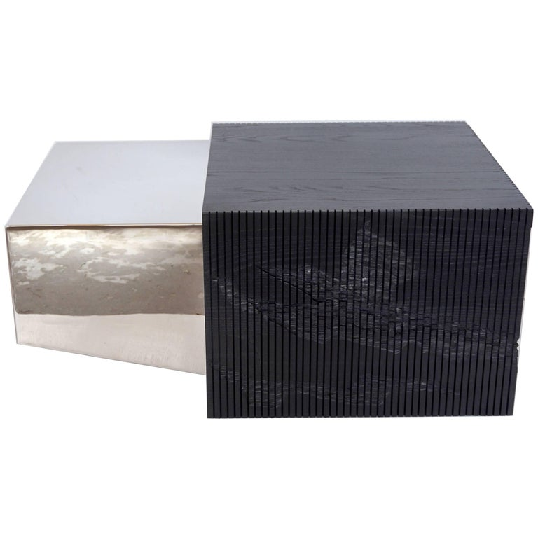 Shale Collection Coffee Table in Chrome and Blackened Ash by Simon Johns