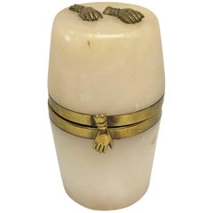 Small 18th Century Alabaster Barrel Shaped Jewelry Box with Brass Hands Decor