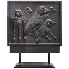Cast Iron Decorative Panel from La Monnaie De Paris Figuring Five Dogs