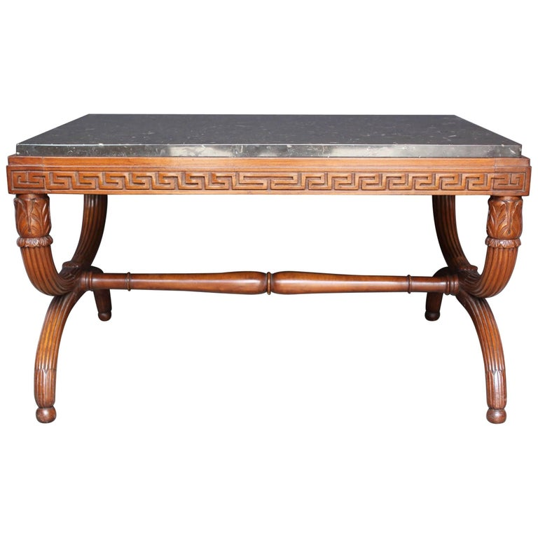 19th Century French Empire St. Carved Mahogany and Marble Top Low Table
