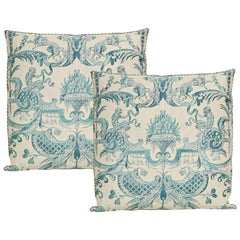 Pair of Fortuny Fabric Cushions in the Mazzarino Print