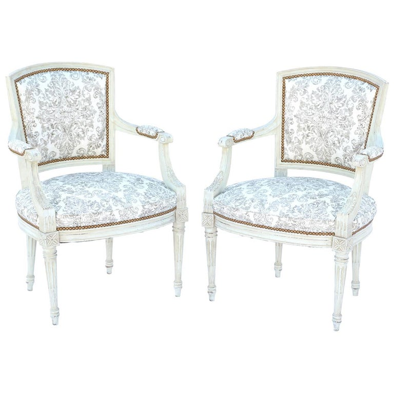Pair of Painted Italian Fauteuils