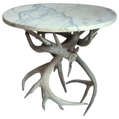 Small Occasional Antler Table with Marble Top