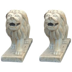Pair of Marble Entry or Garden Lions