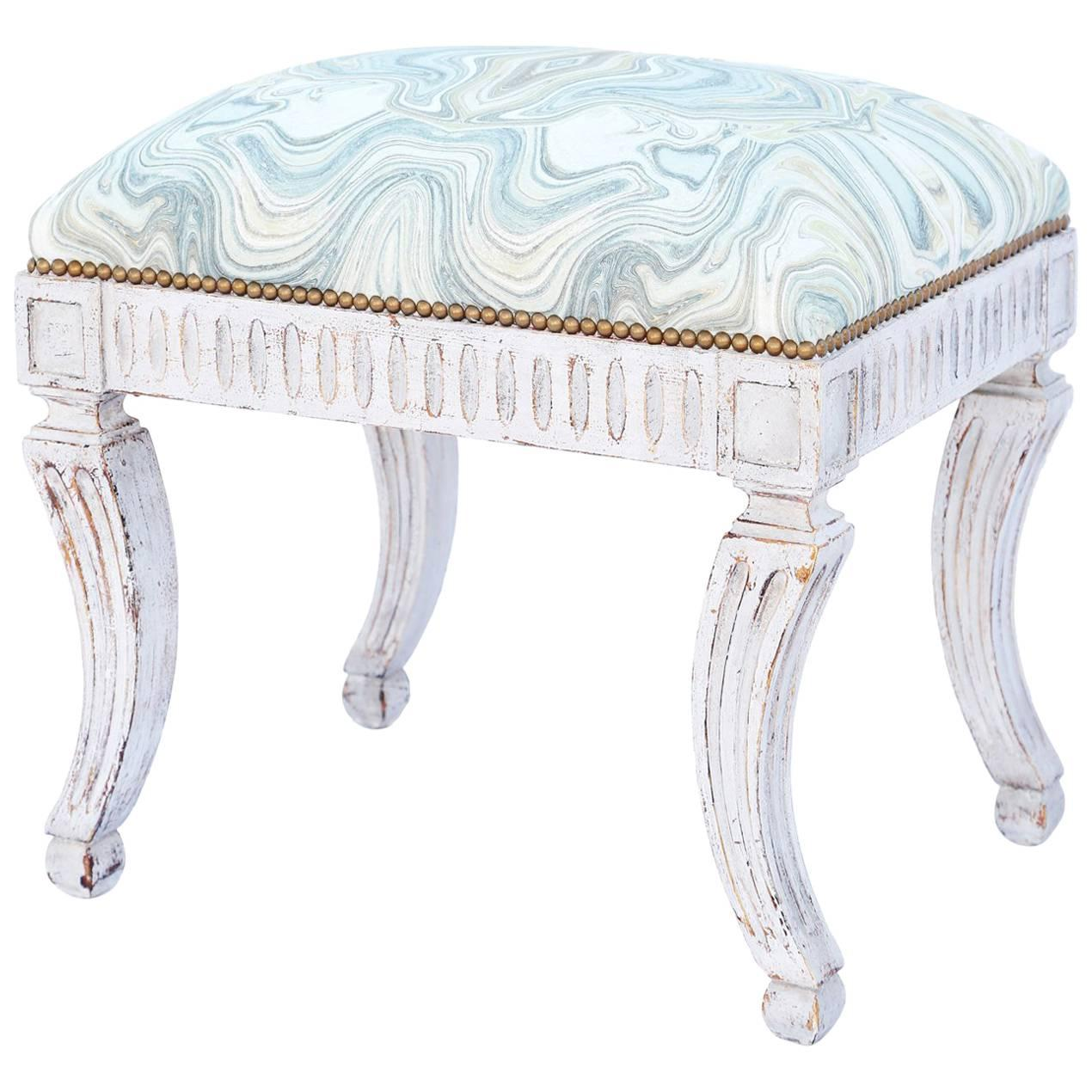 Painted Neoclassical Stool with Crown Seat
