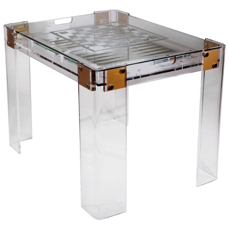 Lucite Backgammon and Chess Table