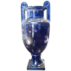 20th Century Ceramic Amphora Vase in the Style of the Antique, Black and Blue