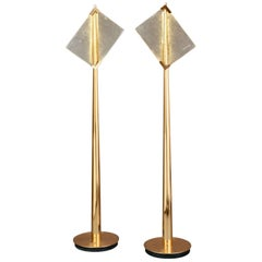 Pair of Roberto Rida Floor Lamps with Vintage Venini Glass