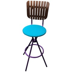 Violet Mid-Century Modern bar stool in the Style of Arthur Umanoff