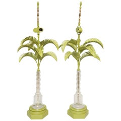 Pair of Vintage Palm Tree Lamps with Glass Trunks