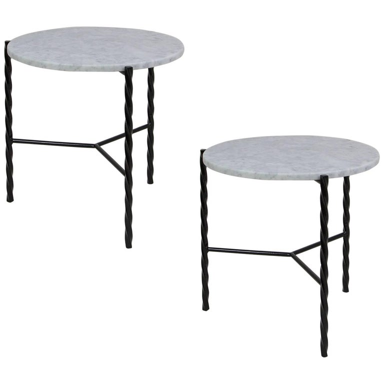 Customizable Pair of Von Iron Side Tables from Souda, Made to Order For Sale