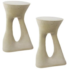 Pair of Tall Grey Kreten Side Tables from Souda, Made to Order