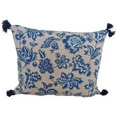 French Printed Cotton Blue and White Floral Pillow, circa 1930s