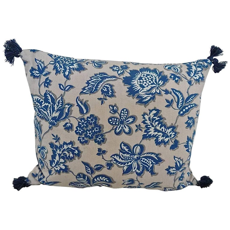 French Printed Cotton Blue And White Floral Pillow Circa 1930s For