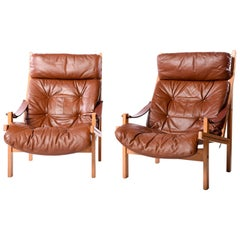 Pair of Hunter Lounge Chairs by Torbjørn Afdal for Bruksbo Norway, circa 1960s