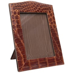 Vintage Brown Alligator Skin Picture Frame with Arch Top