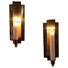 Pair of Swedish Brass Candle Wall Sconces, 1950