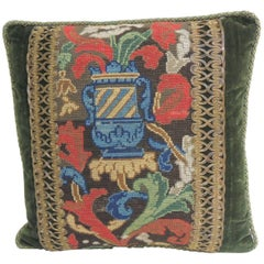 Antique Blue and Red Tapestry Decorative Pillow with Gold Metallic Trims