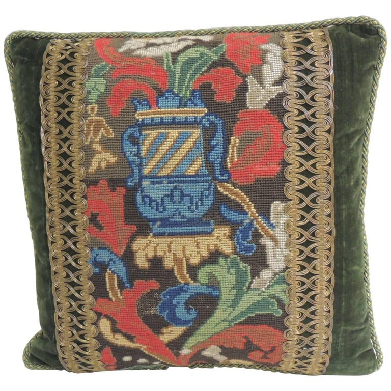 19th C. Tapestry Decorative Pillow with Gold Metallic Trims For Sale