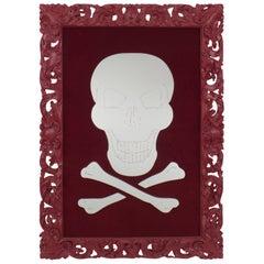 Geoffrey Bradfield Modern Maroon Filigree Frame Skull and Crossbones Mirror