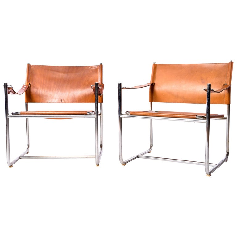 "Pair of Karin Mobring ""Admiral"" Safari Leather Chairs, circa 1970s For Sale"