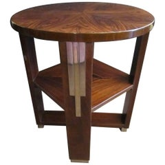 French Art Deco Parquetry Inlaid Rosewood Side Table, Circular with Square Shelf