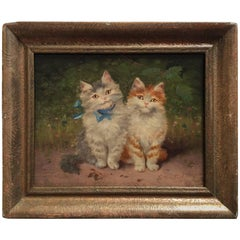 Two Kittens, Painting on Wood
