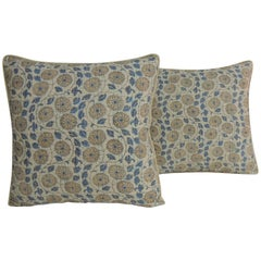 Pair of Vintage Blue and White Floral Quilted Indian Decorative Pillows