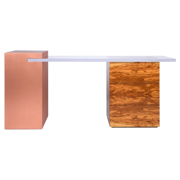 Coppertone Desk in Copper Acrylic and Olive Wood by Cristina Jorge De Carvalho For Sale