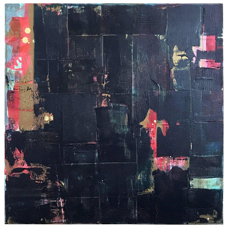 """Abstract Dark Blue Multi Metallic Painting Titled """"Wu Zetian"""" by Rebecca Ruoff For Sale"""