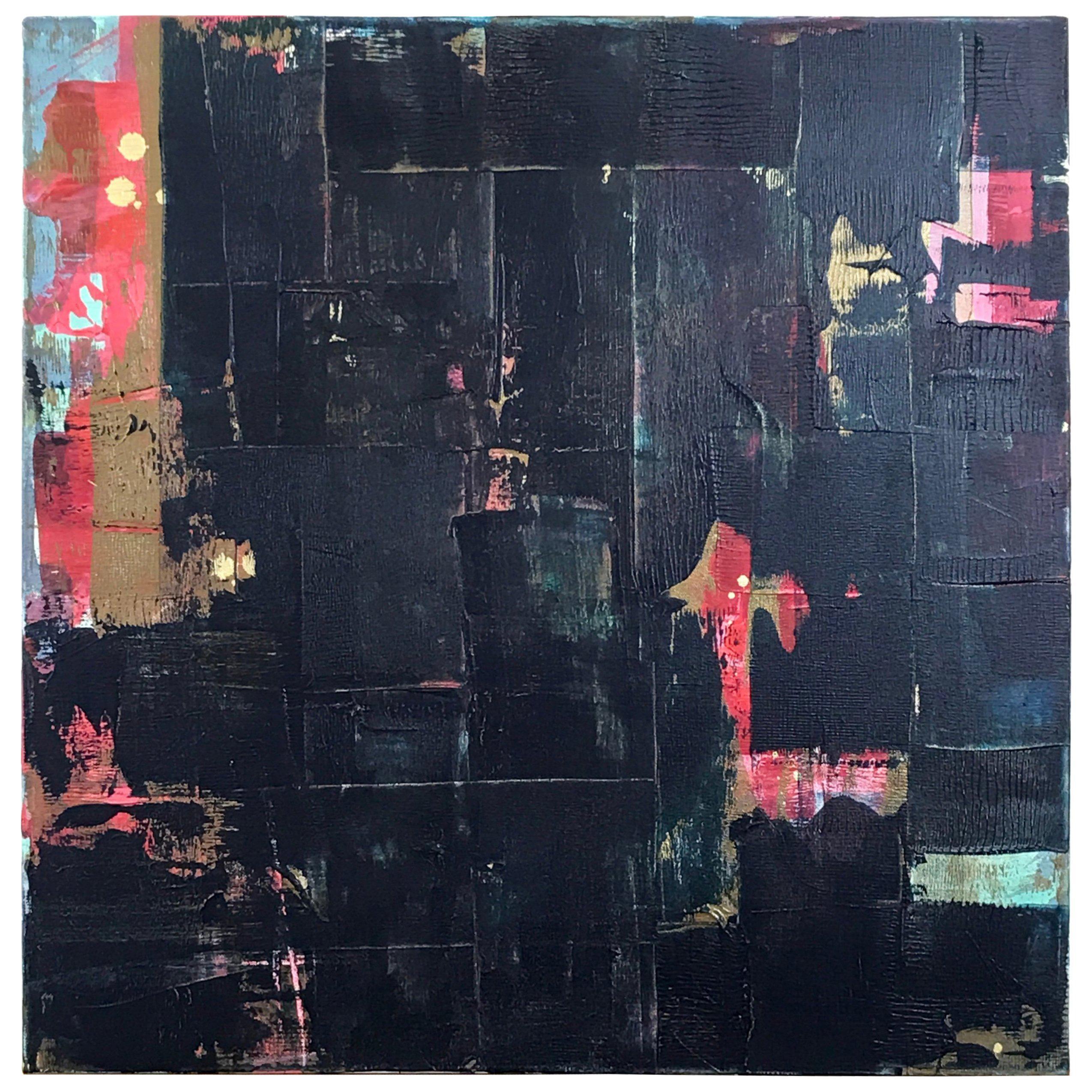 "Abstract Dark Blue Multi Metallic Painting Titled ""Wu Zetian"" by Rebecca Ruoff"