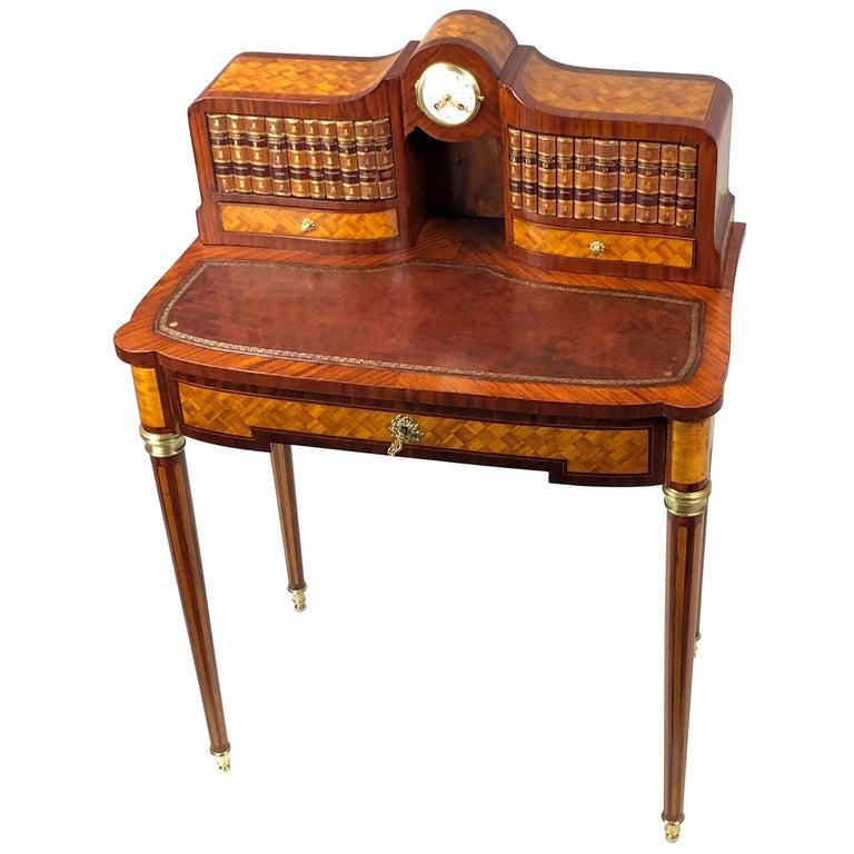 Bonheur Du Jour With Clock 19th Century Las French Desk Secret Compartments For