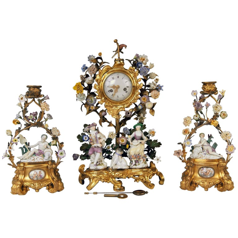 Meissen Ormolu Set Mantel Table Clock Two Candlesticks Porcelain Kaendler, 1770 For Sale