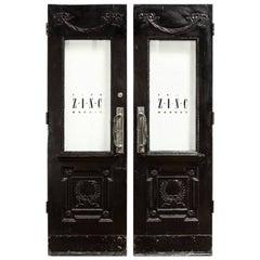 Pair of Neoclassical Louis XVI Lacquered Pub or Bistro Doors