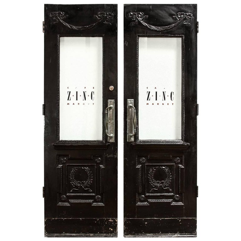 Pair of Neoclassical Louis XVI Lacquered Pub or Bistro Doors