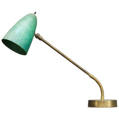 Robert Bulmore Midcentury Studio Green Fiberglass Gooseneck Desk Task Lamp