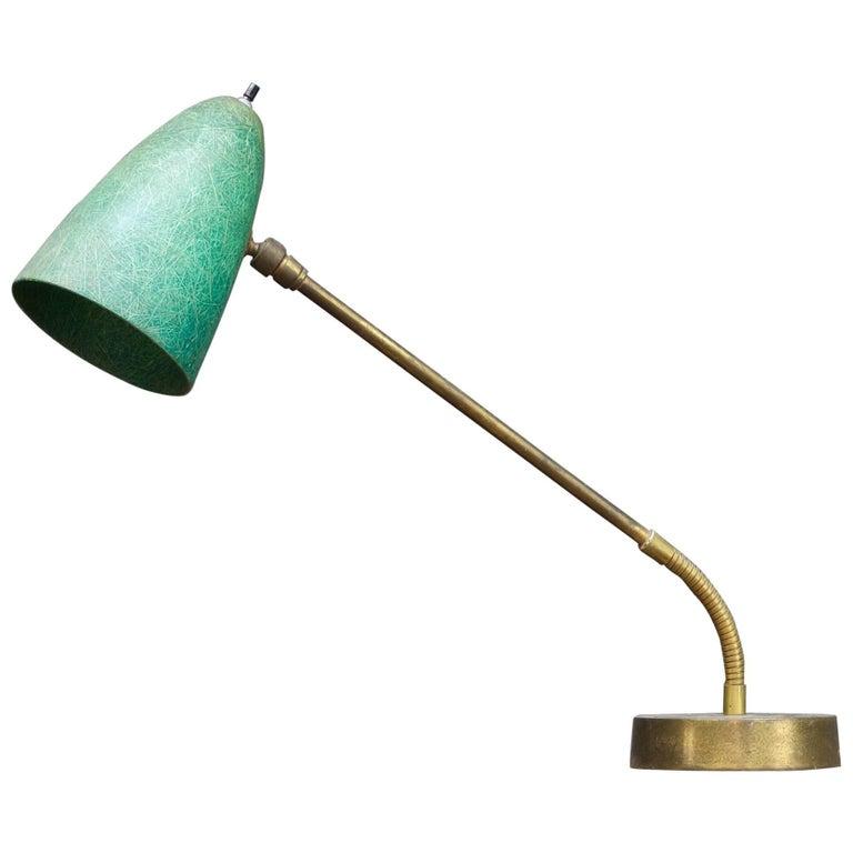 Robert Bulmore Midcentury Studio Green Fibergl Gooseneck Desk Task Lamp For