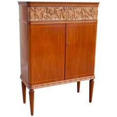 Swedish, 1940s Moderne Storage Cabinet with Figural Relief by Eugene Höglund