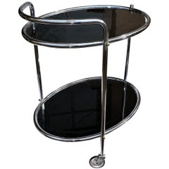 Original Art Deco Chrome and Mirror Modernist Hostess Trolley