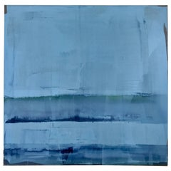 Abstract Light Blue Painting Titled Sea Glass by Rebecca Ruoff, 2018