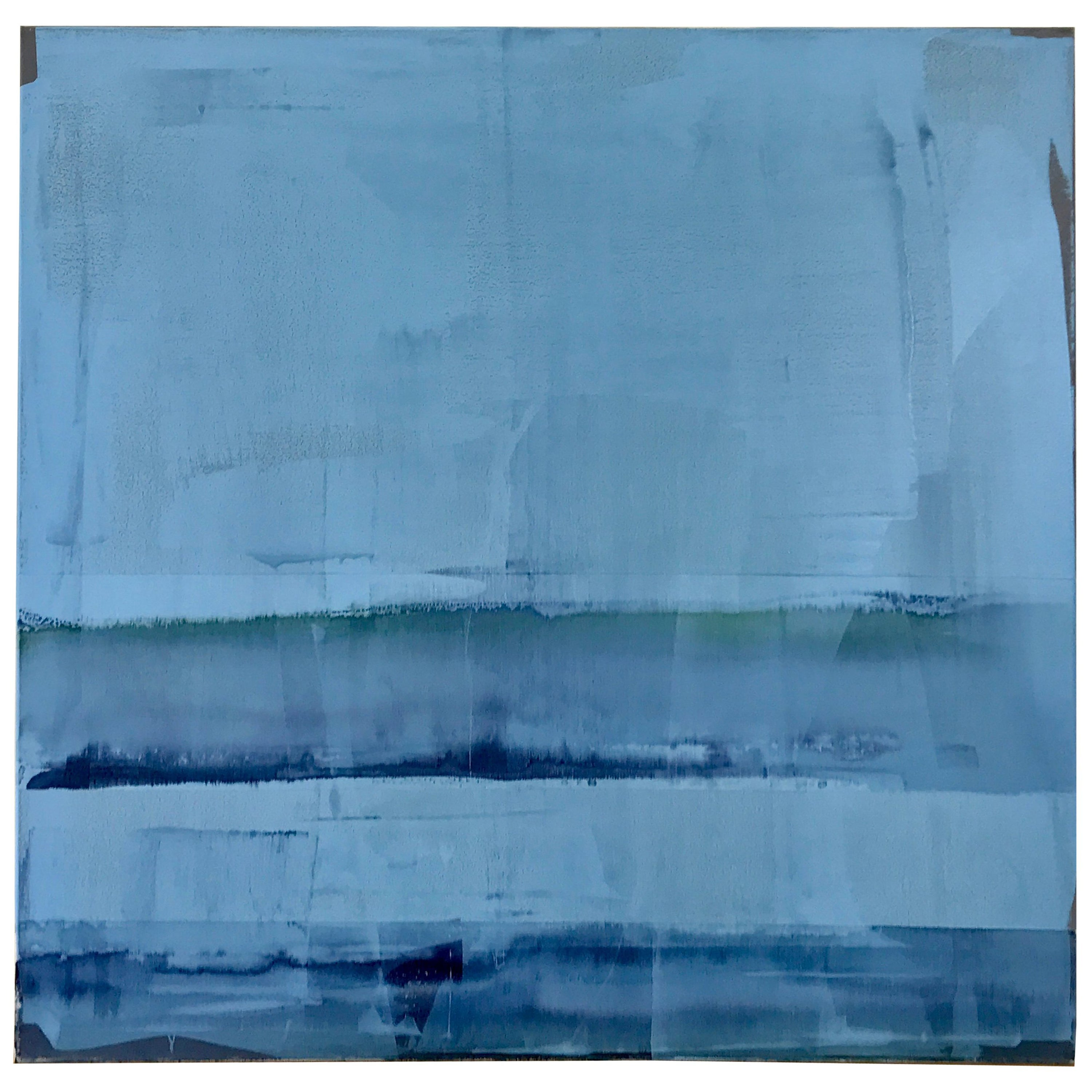 """Abstract Light Blue Painting Titled """"Sea Glass"""" by Rebecca Ruoff, 2018"""