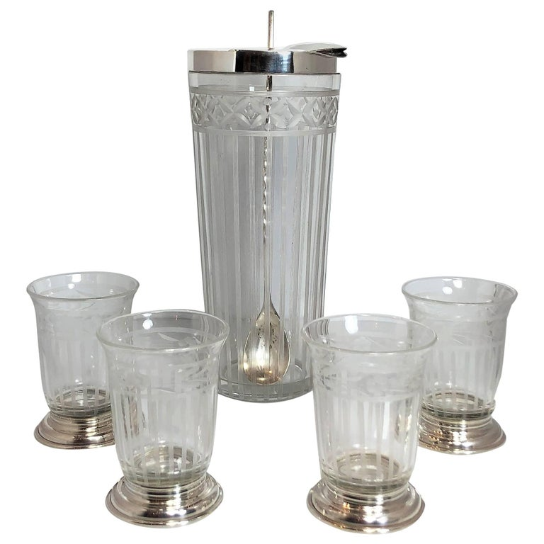 American Sterling Silver Cut Crystal Cocktail Pitcher, Four Glasses & Spoon